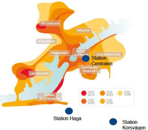 """De färgmarkerade områdena visar Älvstaden, där det ska byggas bostadsområden. Som synes ligger både Station Haga och Station Korsvägen en bra bit från detta område. Stadsbyggnadskontorets formulering """"Visionen förutsätter att Västlänken genomförs enligt alternativet Haga – Korsvägen"""" synes vid betraktande av denna bild vara något dubiöst.(Stadsbyggnadskontoret om Vision Älvstaden, PM 2012-08-16 (dnr 0635/11)."""